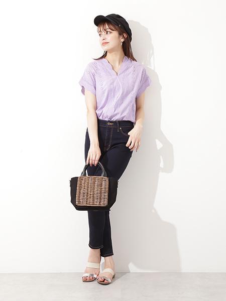 N. Natural Beauty Basic*のスカラップコットンレースブラウスを使ったコーディネートを紹介します。|Rakuten Fashion(楽天ファッション/旧楽天ブランドアベニュー)1025824