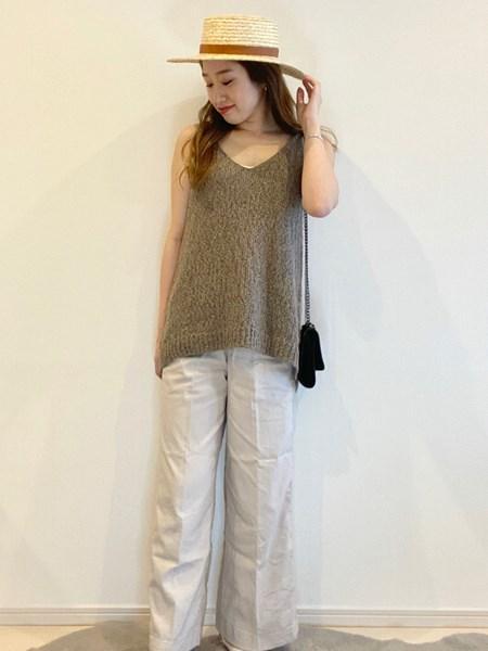 BAYFLOWの(W)リネンストレッチワイドPTを使ったコーディネートを紹介します。|Rakuten Fashion(楽天ファッション/旧楽天ブランドアベニュー)1027380