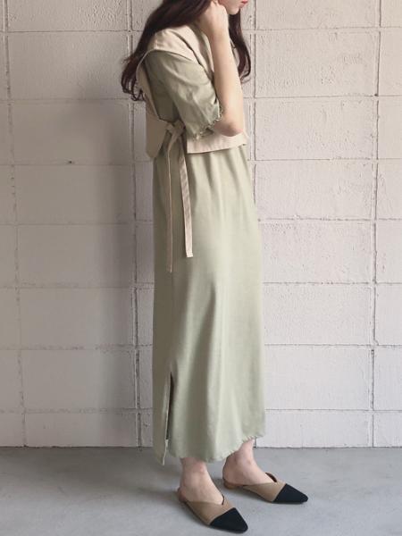 Bou JeloudのBab Bou Jeloud/ツイルベストレイヤードロングワンピースを使ったコーディネートを紹介します。 Rakuten Fashion(楽天ファッション/旧楽天ブランドアベニュー)1030763