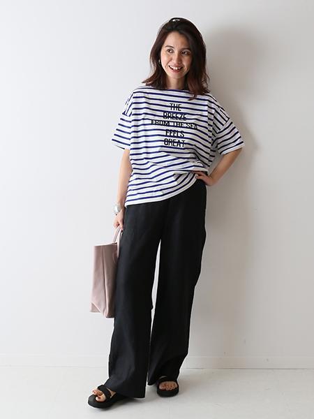 FRAMeWORKのボーダーロゴプリント T-SHIRTを使ったコーディネートを紹介します。|Rakuten Fashion(楽天ファッション/旧楽天ブランドアベニュー)1030862