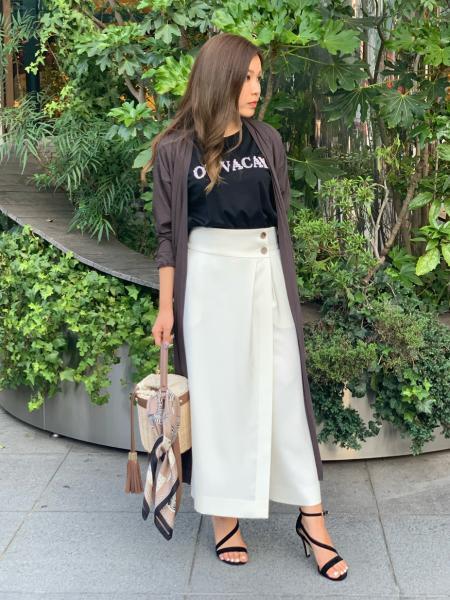 PINKY&DIANNEの麻調合繊ラップスカート風セットアップパンツを使ったコーディネートを紹介します。|Rakuten Fashion(楽天ファッション/旧楽天ブランドアベニュー)1033827
