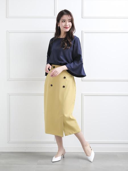 clearのマリンボタンタイトスカートを使ったコーディネートを紹介します。|Rakuten Fashion(楽天ファッション/旧楽天ブランドアベニュー)1038127