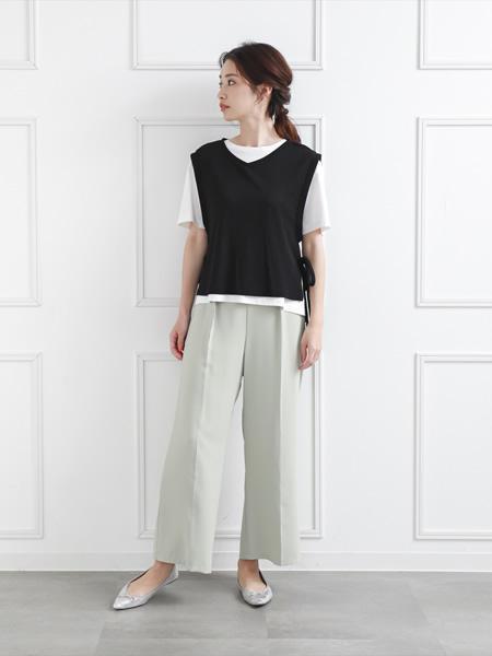 clearのシンプルストレートワイドパンツを使ったコーディネートを紹介します。|Rakuten Fashion(楽天ファッション/旧楽天ブランドアベニュー)1038927