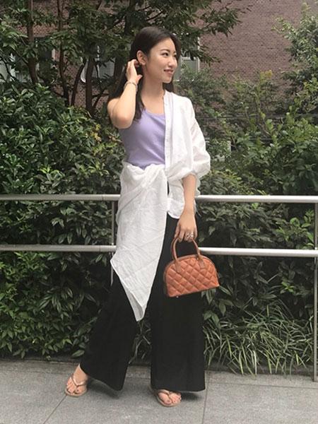 SLOBE IENAのウォッシャブルスラブオックスギャザーパンツ◆を使ったコーディネートを紹介します。|Rakuten Fashion(楽天ファッション/旧楽天ブランドアベニュー)1044822