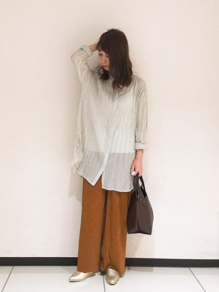 Te chichiのLugnoncure/ストライプシアーブラウスを使ったコーディネートを紹介します。|Rakuten Fashion(楽天ファッション/旧楽天ブランドアベニュー)1045892
