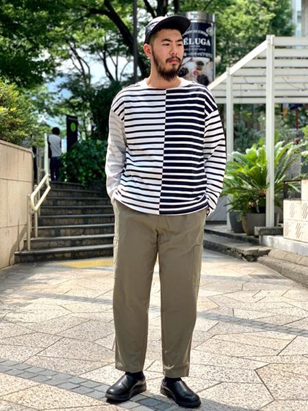 JOURNAL STANDARD relumeの【HOUSE HOLD】ドライコットン ボーダー ロングTシャツを使ったコーディネートを紹介します。|Rakuten Fashion(楽天ファッション/旧楽天ブランドアベニュー)1046246