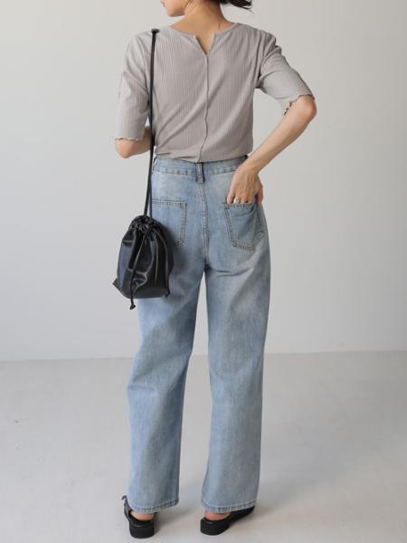 Bou Jeloudの【EC】ダブルボタンワイドデニムを使ったコーディネートを紹介します。|Rakuten Fashion(楽天ファッション/旧楽天ブランドアベニュー)1046263