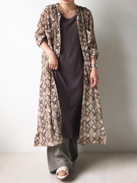Bou Jeloudの2wayパイソン柄シャツワンピースを使ったコーディネートを紹介します。|Rakuten Fashion(楽天ファッション/旧楽天ブランドアベニュー)1046880