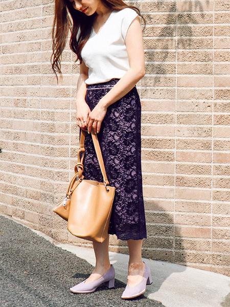 The Virgniaのフロッキーレース配色タイトスカートを使ったコーディネートを紹介します。|Rakuten Fashion(楽天ファッション/旧楽天ブランドアベニュー)1048807