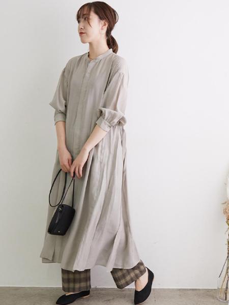 ROPE' PICNICのバンドカラー羽織りワンピースを使ったコーディネートを紹介します。|Rakuten Fashion(楽天ファッション/旧楽天ブランドアベニュー)1050450