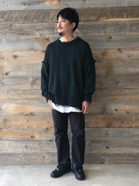 JOURNAL STANDARD relumeのDAMAGED LAYERED KNITを使ったコーディネートを紹介します。|Rakuten Fashion(楽天ファッション/旧楽天ブランドアベニュー)1051991