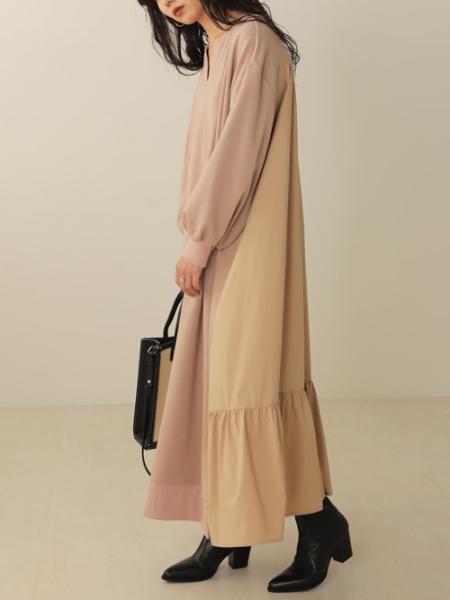 Bou Jeloudのバックシャンティアード裏毛長袖ワンピースを使ったコーディネートを紹介します。|Rakuten Fashion(楽天ファッション/旧楽天ブランドアベニュー)1052237