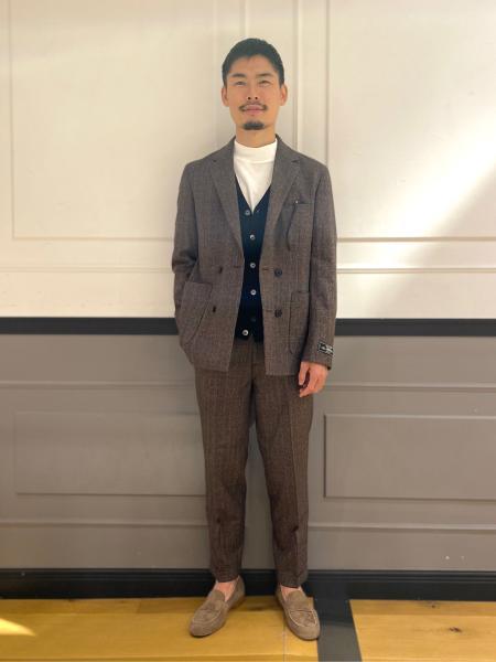 EDIFICEのメランジパターン ダブルブレスト ジャケットを使ったコーディネートを紹介します。|Rakuten Fashion(楽天ファッション/旧楽天ブランドアベニュー)1053184