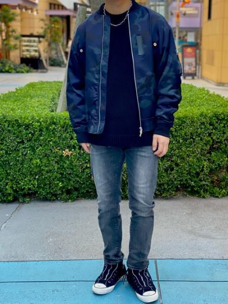 LOVELESSのネイビーカモフラ MA-1を使ったコーディネートを紹介します。|Rakuten Fashion(楽天ファッション/旧楽天ブランドアベニュー)1060586