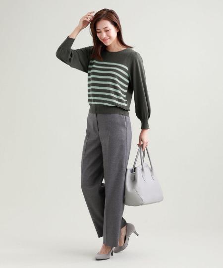 TRANS WORKの【ウォッシャブル】ファインウールボーダーニットを使ったコーディネートを紹介します。|Rakuten Fashion(楽天ファッション/旧楽天ブランドアベニュー)1060598