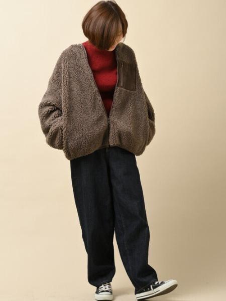 rpsの(W)配色ポケットノーカラーボアブルゾンを使ったコーディネートを紹介します。|Rakuten Fashion(楽天ファッション/旧楽天ブランドアベニュー)1061435
