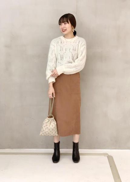 ROPE'の【春まで着られる】透かし編みモヘアプルオーバーを使ったコーディネートを紹介します。|Rakuten Fashion(楽天ファッション/旧楽天ブランドアベニュー)1062142