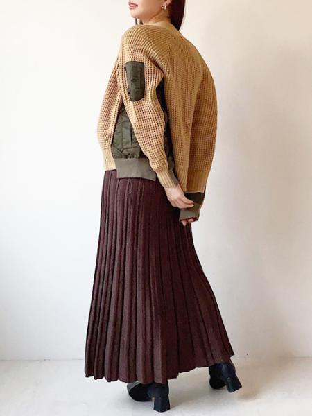 Bou JeloudのMA1ドッキングニットアウターを使ったコーディネートを紹介します。|Rakuten Fashion(楽天ファッション/旧楽天ブランドアベニュー)1062484