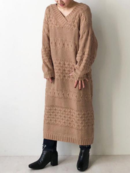 Bou Jeloudのヨコアミケーブルニットニットワンピースを使ったコーディネートを紹介します。|Rakuten Fashion(楽天ファッション/旧楽天ブランドアベニュー)1065154