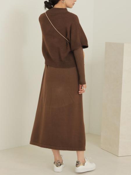 Bou Jeloudのケープトップ&リブニットワンピースセットを使ったコーディネートを紹介します。|Rakuten Fashion(楽天ファッション/旧楽天ブランドアベニュー)1065704