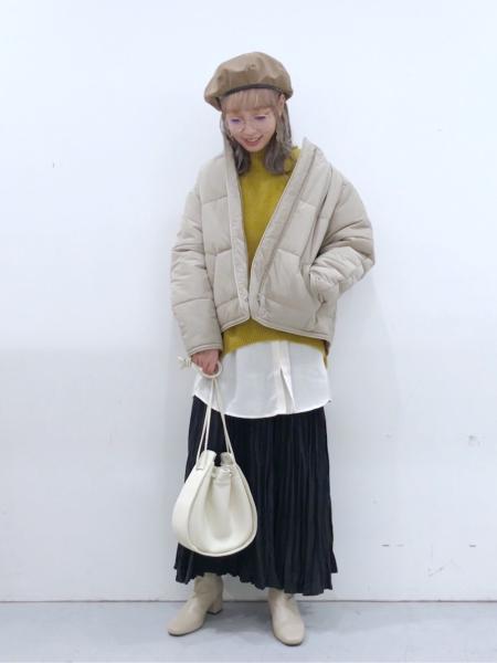 LAKOLEのエコレザートリムネックパファージャケットを使ったコーディネートを紹介します。|Rakuten Fashion(楽天ファッション/旧楽天ブランドアベニュー)1071584