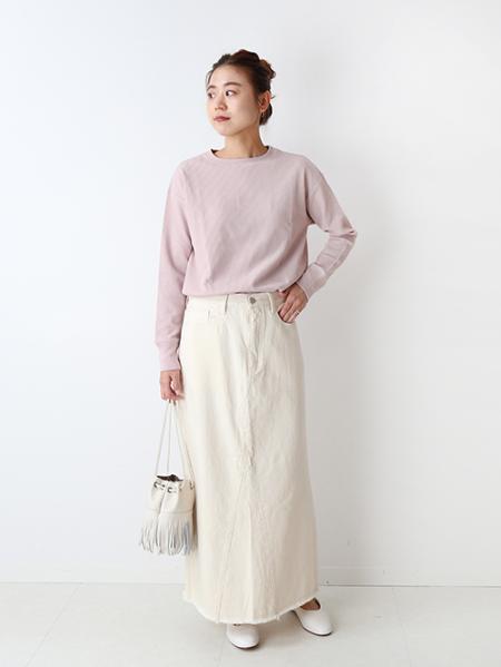 JOURNAL STANDARD relumeのモノトーンデニムリメイク風マキシスカートを使ったコーディネートを紹介します。 Rakuten Fashion(楽天ファッション/旧楽天ブランドアベニュー)1072403