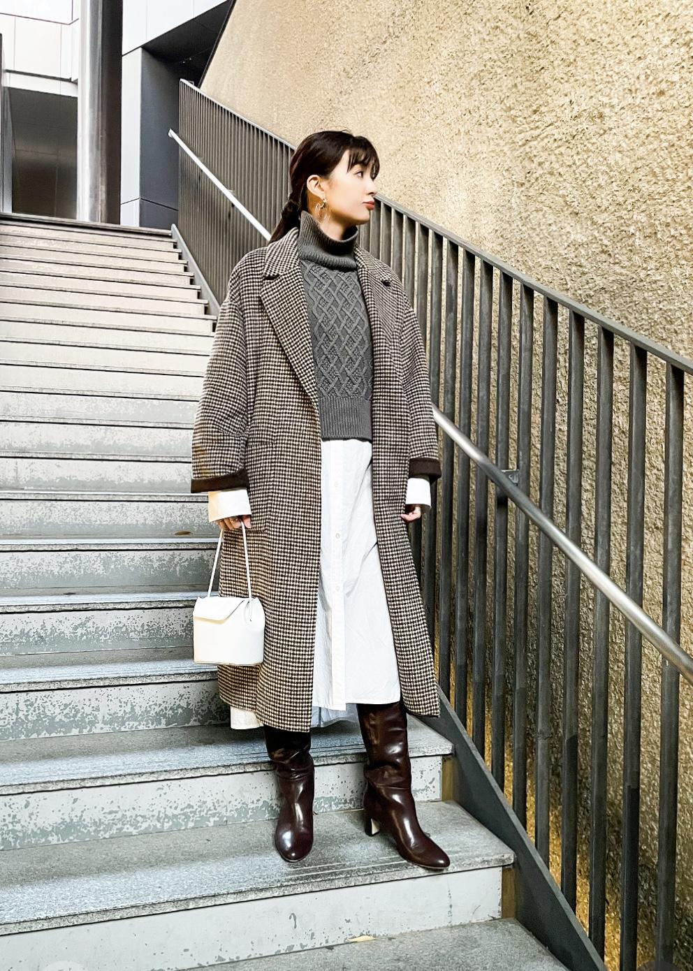 ADAM ET ROPE'のCHECKウールリバーコートを使ったコーディネートを紹介します。|Rakuten Fashion(楽天ファッション/旧楽天ブランドアベニュー)1074380