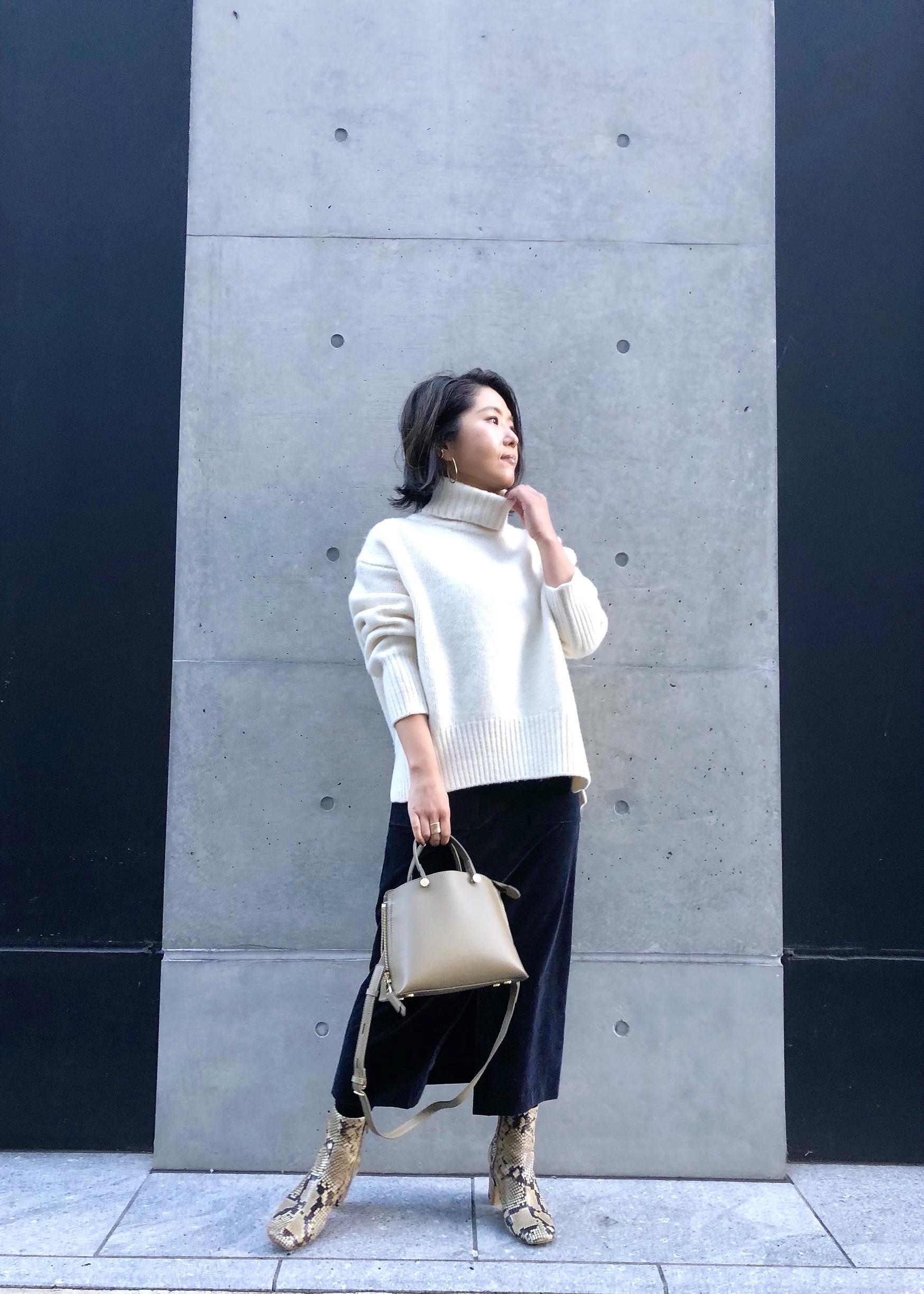 ROPE'の【新色追加】【2つの丈から選べる】タスマニアウールタートルネックニット(ミドル丈)を使ったコーディネートを紹介します。|Rakuten Fashion(楽天ファッション/旧楽天ブランドアベニュー)1078751