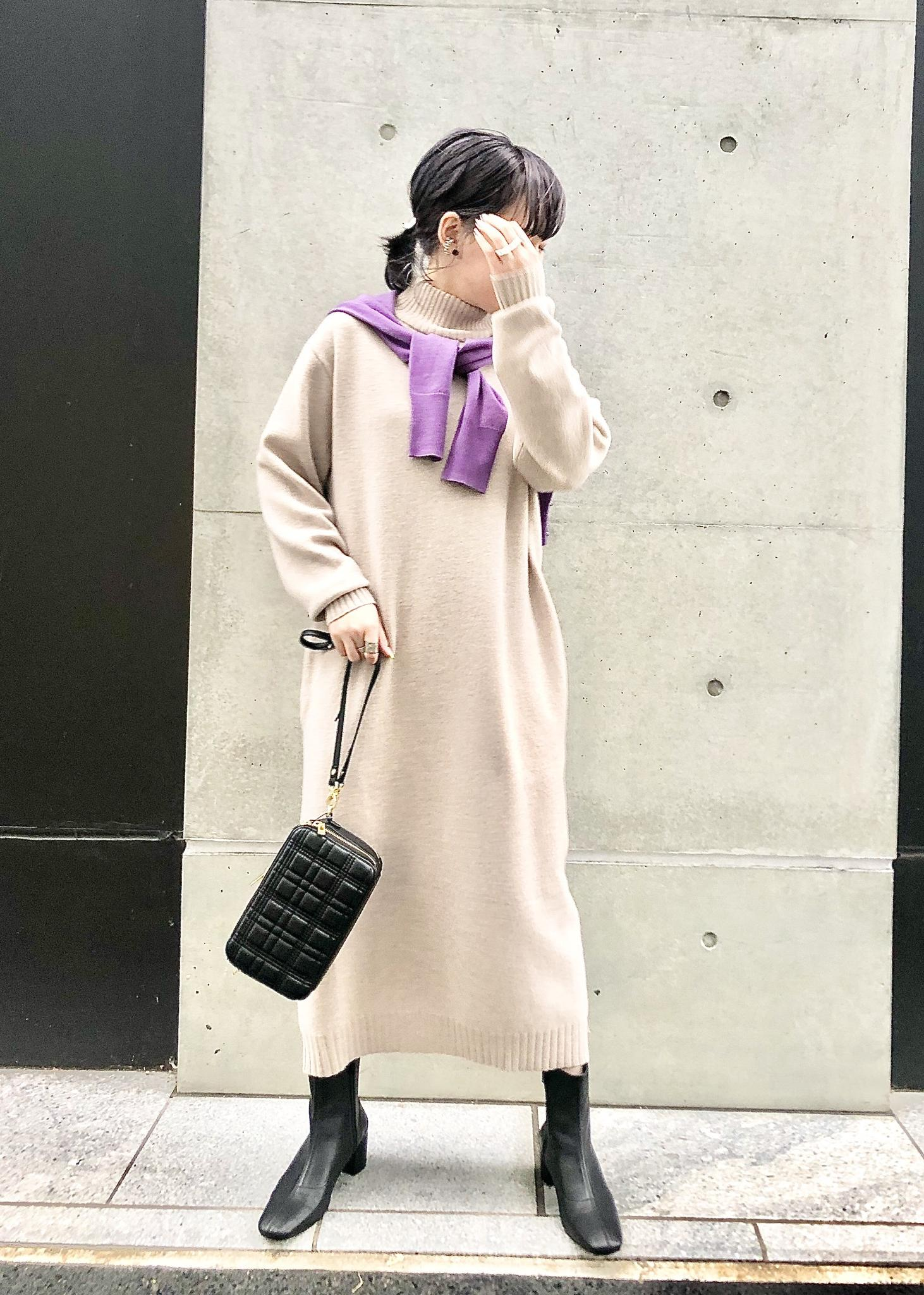 ROPE'のハイネックニットワンピースを使ったコーディネートを紹介します。|Rakuten Fashion(楽天ファッション/旧楽天ブランドアベニュー)1078844