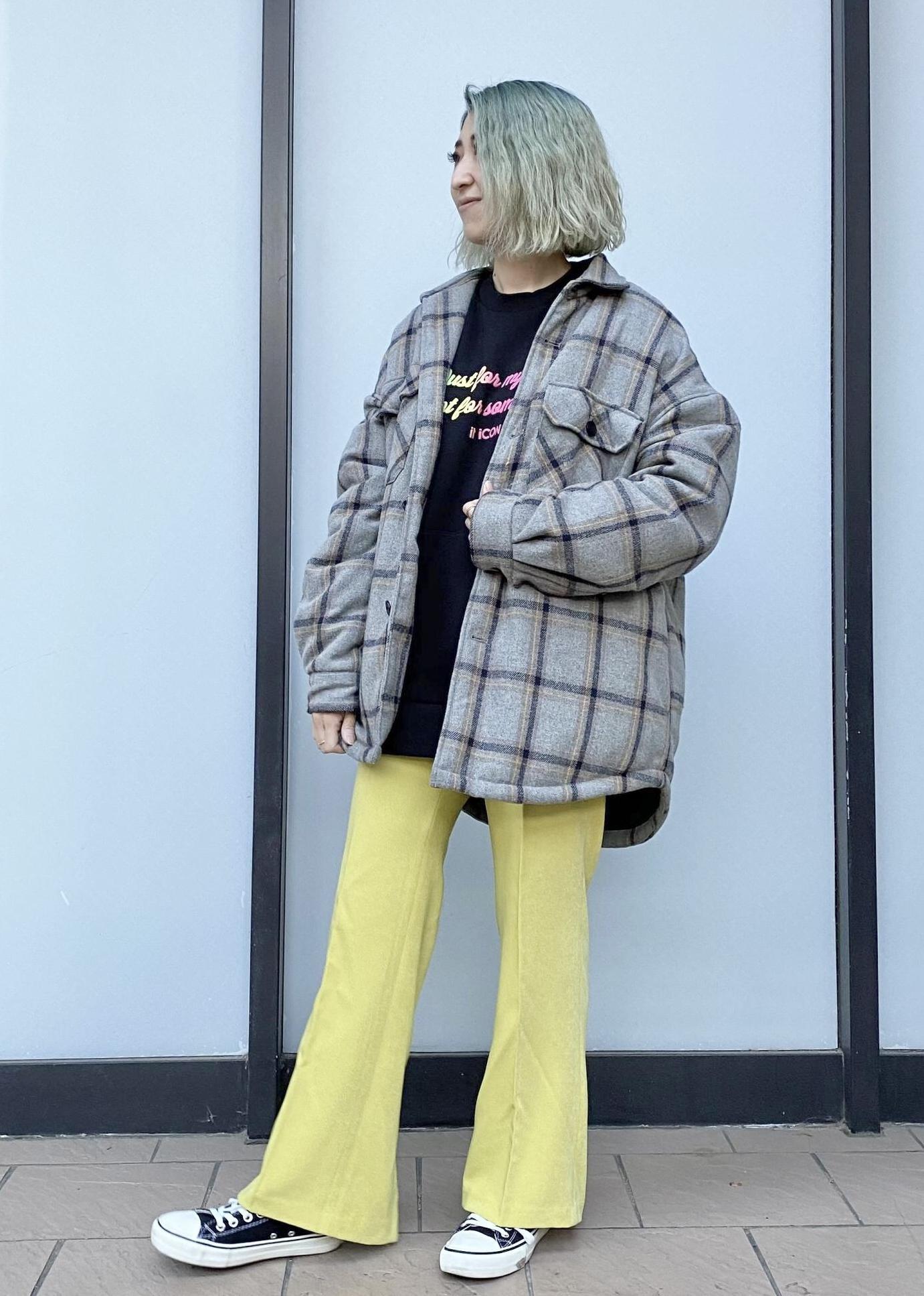 JUNRedのウーリーチェックオーバーサイズCPOブルゾンを使ったコーディネートを紹介します。|Rakuten Fashion(楽天ファッション/旧楽天ブランドアベニュー)1082964