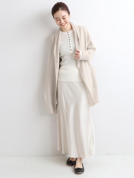 IENAのChess ストールカラー カーディガンを使ったコーディネートを紹介します。|Rakuten Fashion(楽天ファッション/旧楽天ブランドアベニュー)1076461