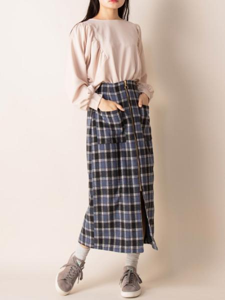 Mysa&LiinaのMysa&Liina/フロントジップチェックタイトスカートを使ったコーディネートを紹介します。|Rakuten Fashion(楽天ファッション/旧楽天ブランドアベニュー)1082568