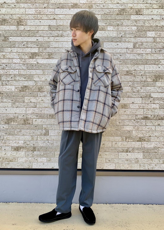 JUNRedのウーリーチェックオーバーサイズCPOブルゾンを使ったコーディネートを紹介します。|Rakuten Fashion(楽天ファッション/旧楽天ブランドアベニュー)1086598