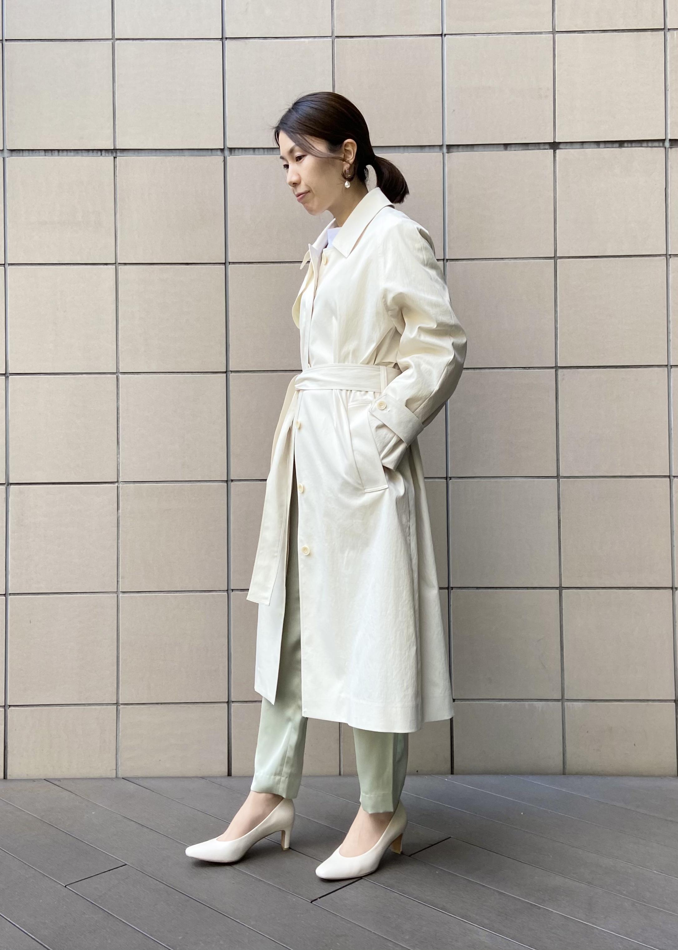 SALON adam et rope'の【店頭人気アイテム!】シャイニーカラーテーパードパンツを使ったコーディネートを紹介します。|Rakuten Fashion(楽天ファッション/旧楽天ブランドアベニュー)1088974