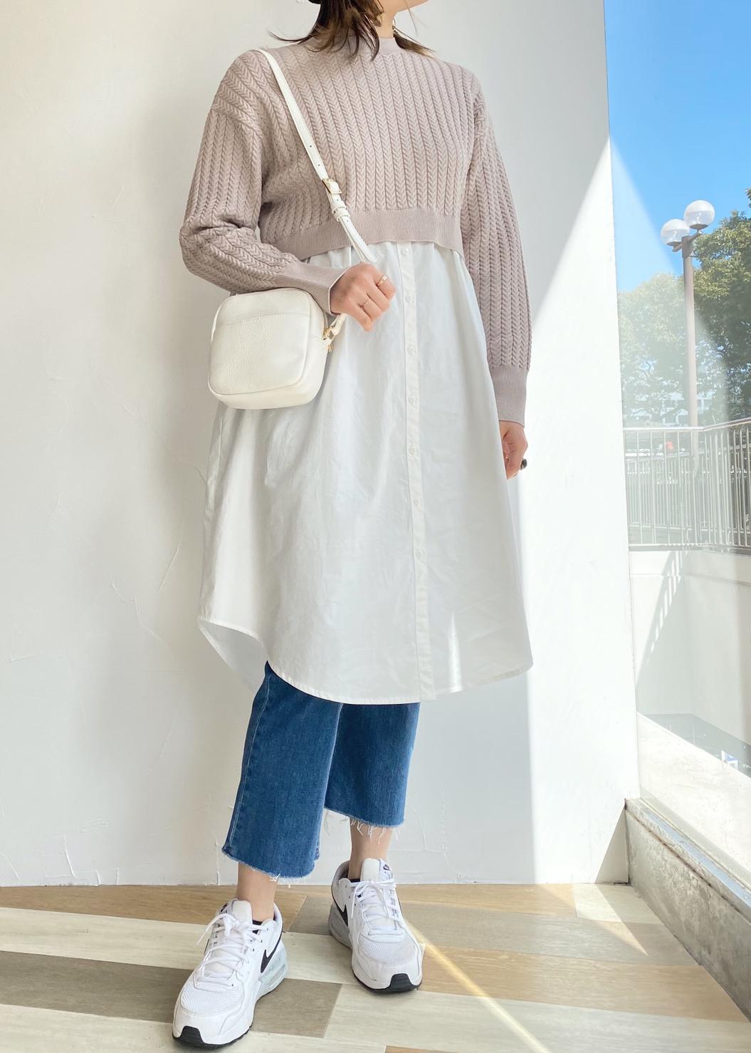 ViSの【Bi-Tan 美短】ミニケーブルニットドッキングワンピースを使ったコーディネートを紹介します。|Rakuten Fashion(楽天ファッション/旧楽天ブランドアベニュー)1089187