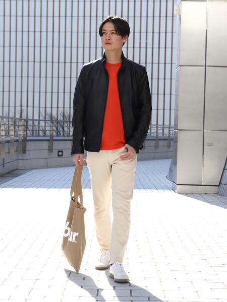 EDIFICEのレザー ハリントン ブルゾンを使ったコーディネートを紹介します。|Rakuten Fashion(楽天ファッション/旧楽天ブランドアベニュー)1090528