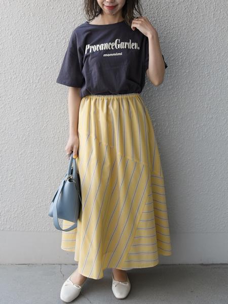 SHIPSのSHIPS any: ストライプ パッチワーク スカートを使ったコーディネートを紹介します。 Rakuten Fashion(楽天ファッション/旧楽天ブランドアベニュー)1090531