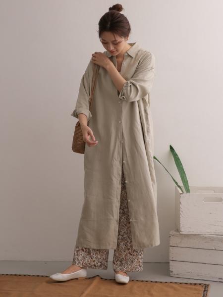URBAN RESEARCH DOORSのリネンバックタックシャツワンピースを使ったコーディネートを紹介します。|Rakuten Fashion(楽天ファッション/旧楽天ブランドアベニュー)1090879