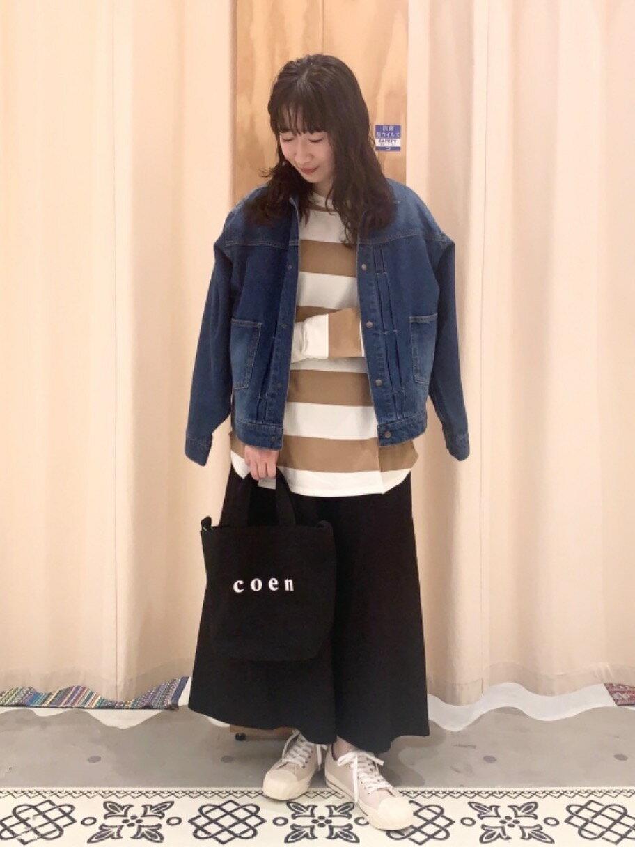 coenのUSAコットンオーバーサイズインレイワイドボーダーTシャツ#を使ったコーディネートを紹介します。|Rakuten Fashion(楽天ファッション/旧楽天ブランドアベニュー)1101435