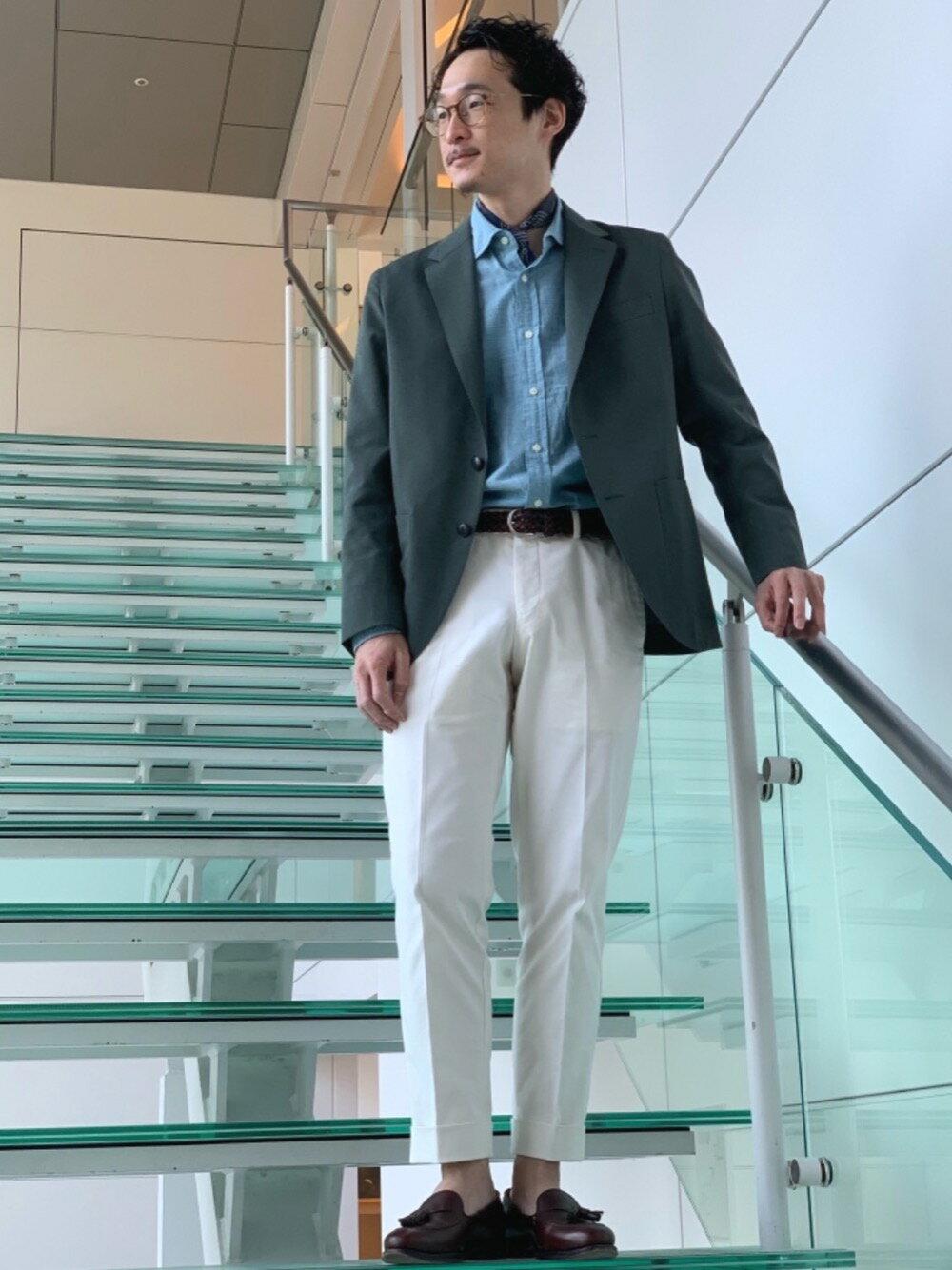 UNITED ARROWS green label relaxingの[ 御幸毛織 ] MIYUKI TW ダンガリー 無地 2B 2P ジャケットを使ったコーディネートを紹介します。|Rakuten Fashion(楽天ファッション/旧楽天ブランドアベニュー)1098223
