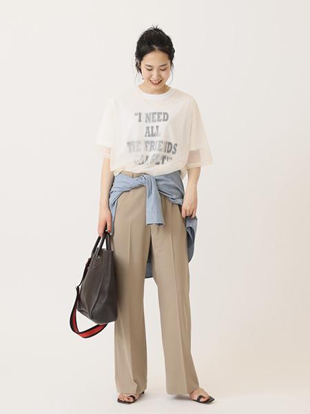 FRAMeWORKのPE/W セミフレアパンツ◆を使ったコーディネートを紹介します。|Rakuten Fashion(楽天ファッション/旧楽天ブランドアベニュー)1099749