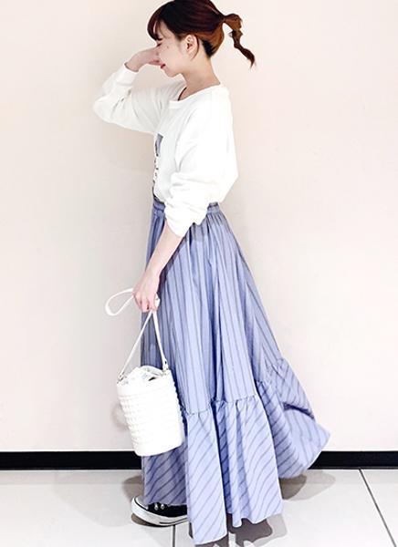 Te chichiのTechichi/ストライプティアードスカートを使ったコーディネートを紹介します。 Rakuten Fashion(楽天ファッション/旧楽天ブランドアベニュー)1100141