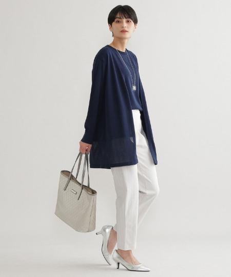 EVEX by KRIZIAの【ウォッシャブル】ストライプメリルハイテンションテーパードパンツを使ったコーディネートを紹介します。|Rakuten Fashion(楽天ファッション/旧楽天ブランドアベニュー)1100608