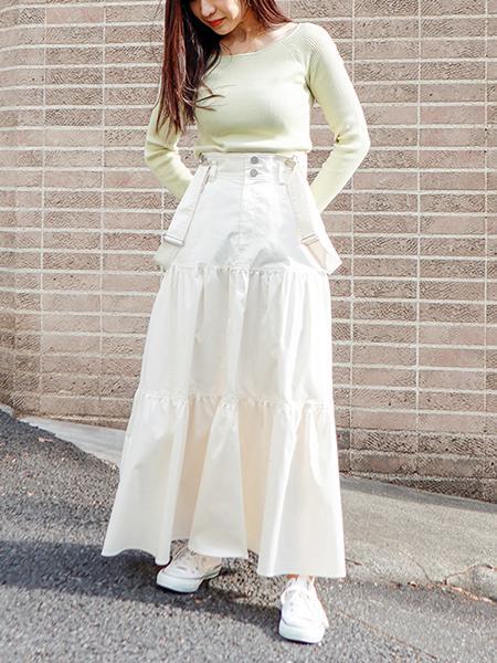 The Virgniaのサスペンダー付コットンツイルスカートを使ったコーディネートを紹介します。|Rakuten Fashion(楽天ファッション/旧楽天ブランドアベニュー)1102182
