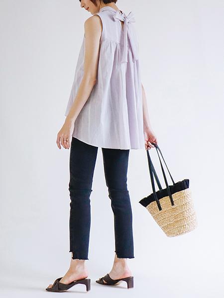 The Virgniaのストライプノースリーブブラウスを使ったコーディネートを紹介します。|Rakuten Fashion(楽天ファッション/旧楽天ブランドアベニュー)1111048