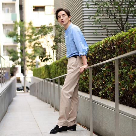 Paul Stuartのコットンリネンバンドカラーサファリシャツを使ったコーディネートを紹介します。|Rakuten Fashion(楽天ファッション/旧楽天ブランドアベニュー)1118109